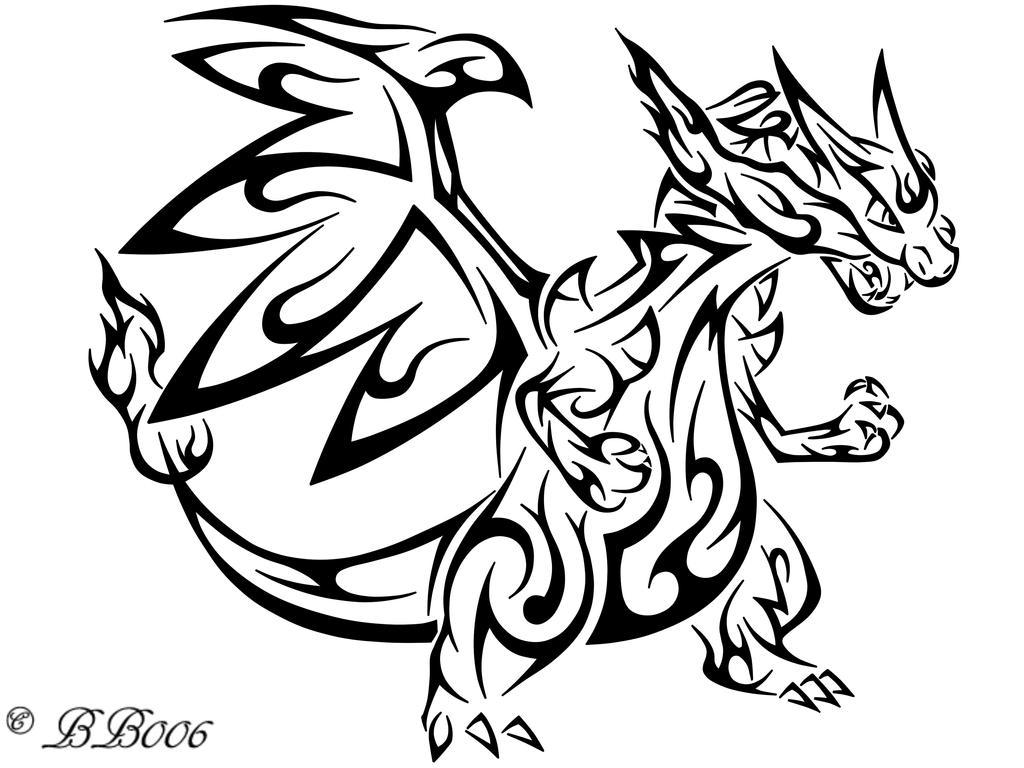 mega charizard x coloring page - tribal mega charizard x by blackbutterfly006 on deviantart