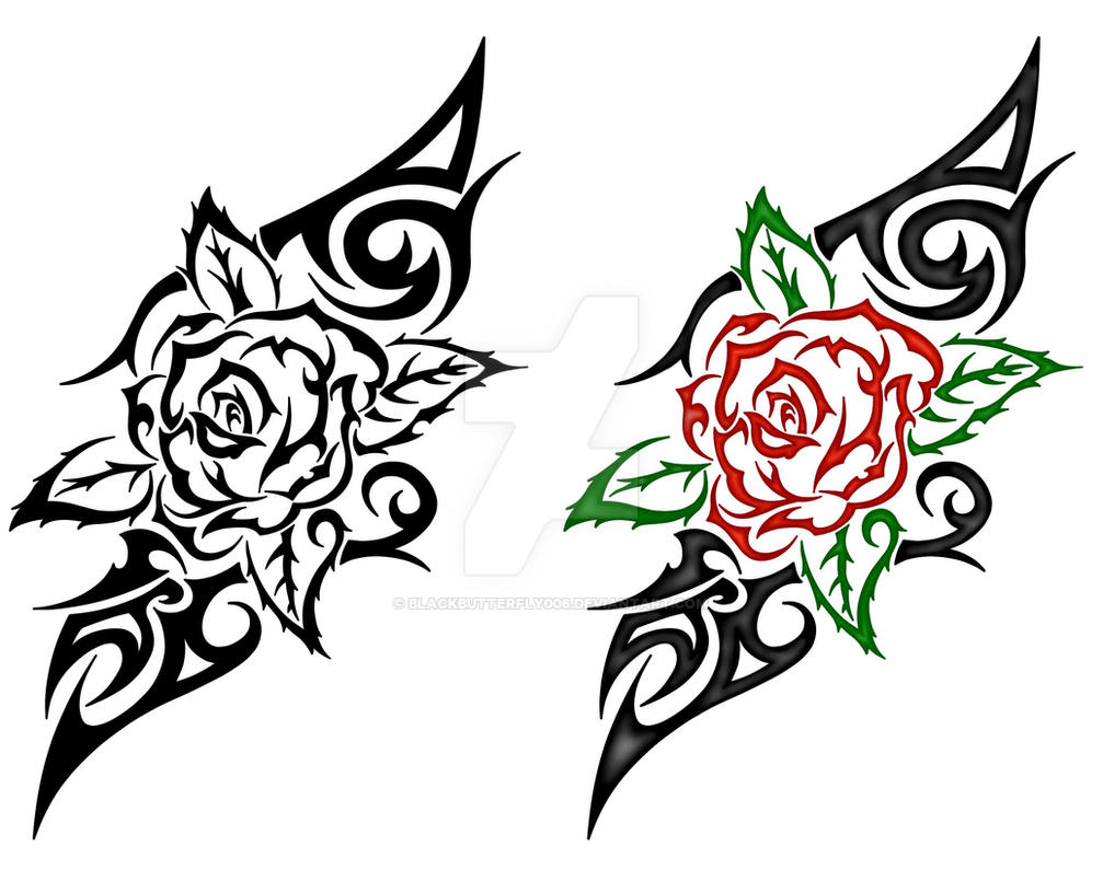 Tribal Rose Design By Blackbutterfly006