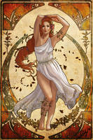 Persephone, Spring and Hades Goddess Nouveau by phoenixnightmare