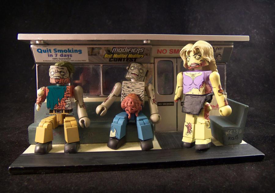 Zombie Minimates on the Subway by luke314pi