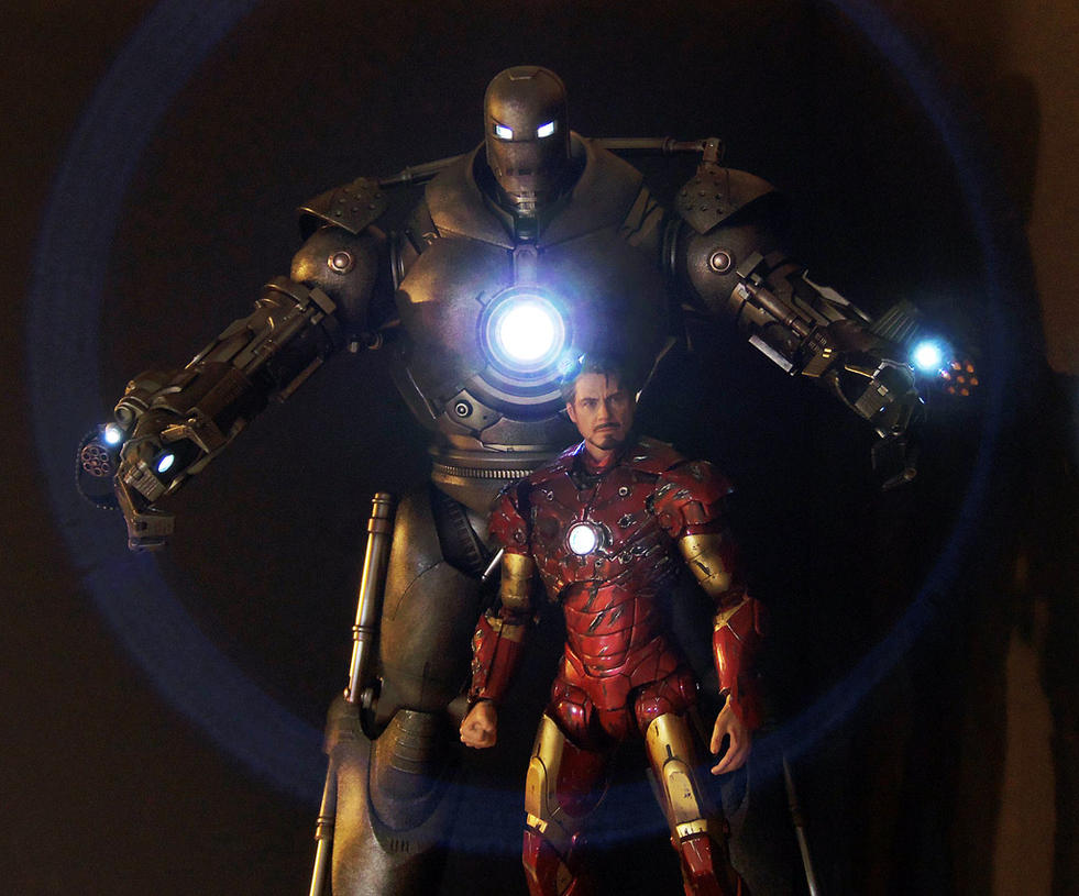 Hot Toys Iron Monger and custom Iron Man by luke314pi