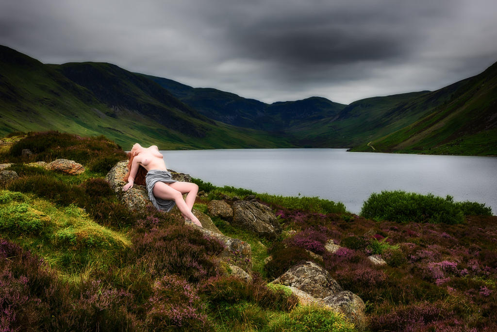 Lochside with Heather by ChrissieRed