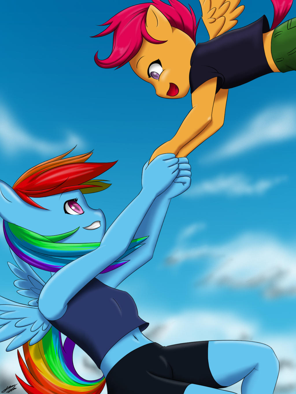 Rainbow Dash And Scootaloo By Skecchiart On Deviantart However rainbow dash tells scootaloo that this is not as important as she thinks and that, regardless of whether she'll fly or not, she's still special in her own way. rainbow dash and scootaloo by