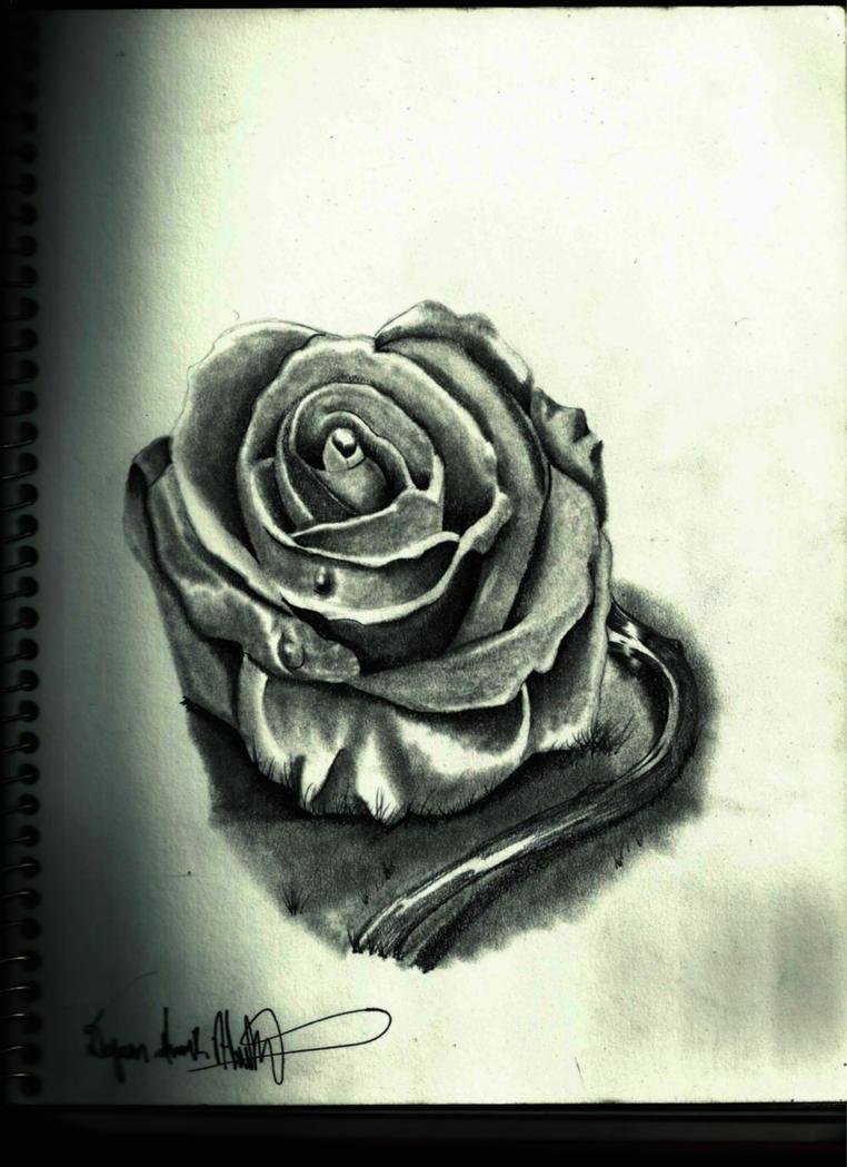 3d rose tattoo by quan art on deviantart. Black Bedroom Furniture Sets. Home Design Ideas