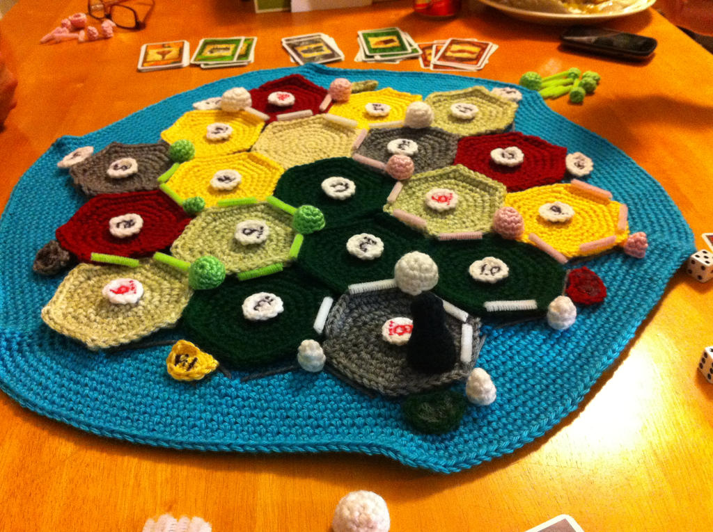 Settlers of Catan crocheted by babyveggies