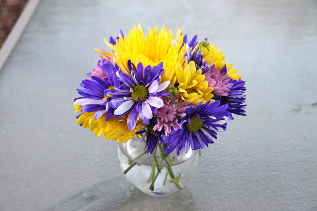 Violet and yellow flower arrangement by dewheart85 on deviantart violet and yellow flower arrangement by dewheart85 mightylinksfo