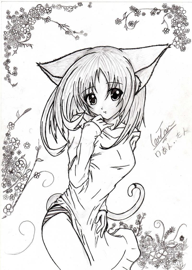 anime Neko girl drawing by kusanagi91 on DeviantArt