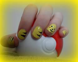 Pikachu Nail Art by animalscrosshere