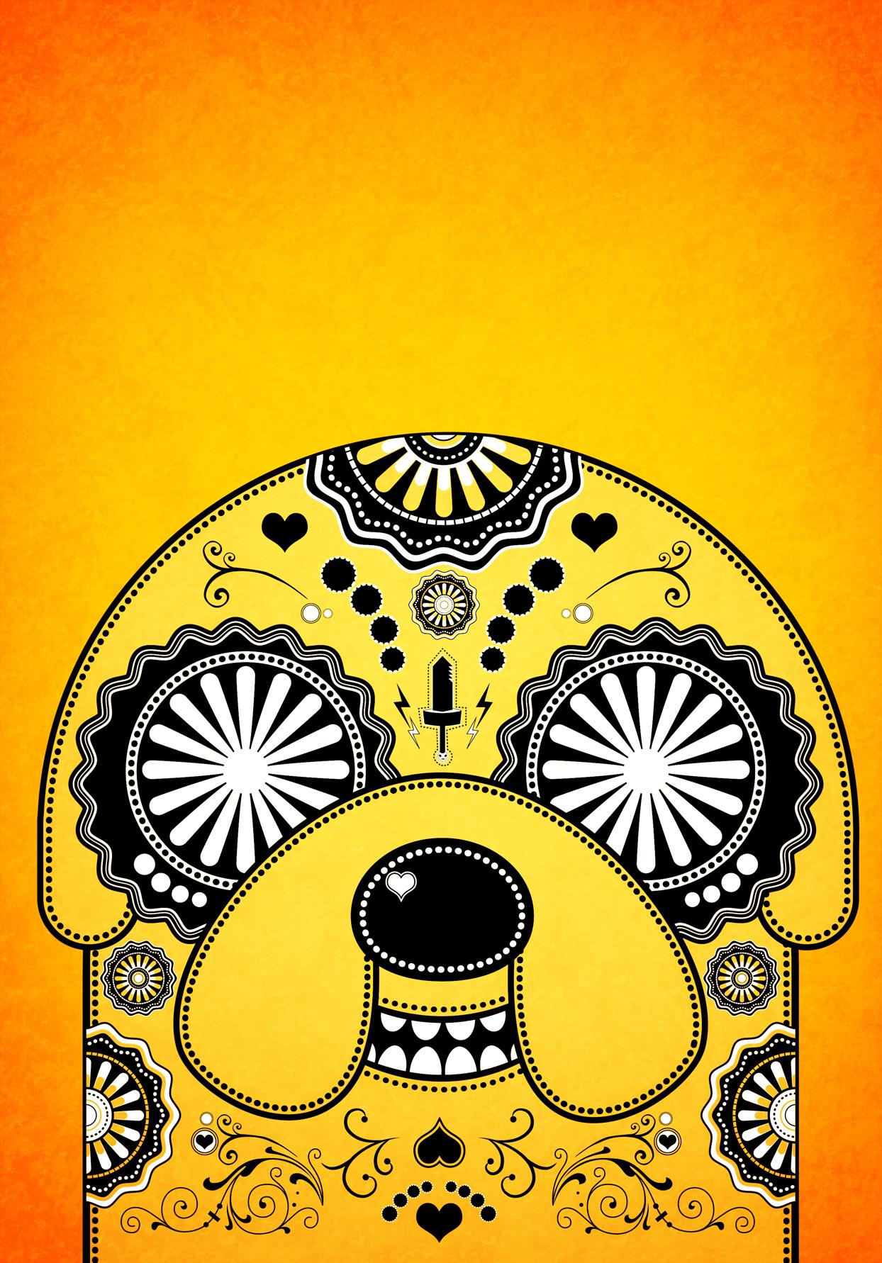 Jake Adventure Time Sugar Skull Poster Orange By