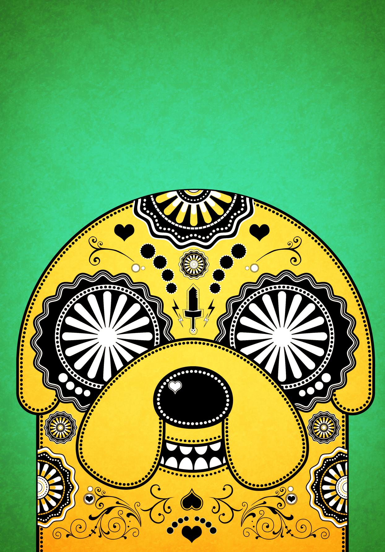Jake Adventure Time Sugar Skull Poster - Green by PICKLEDLIVER