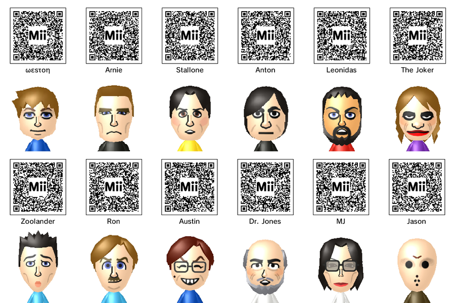 Mii QR Codes by theST1NG