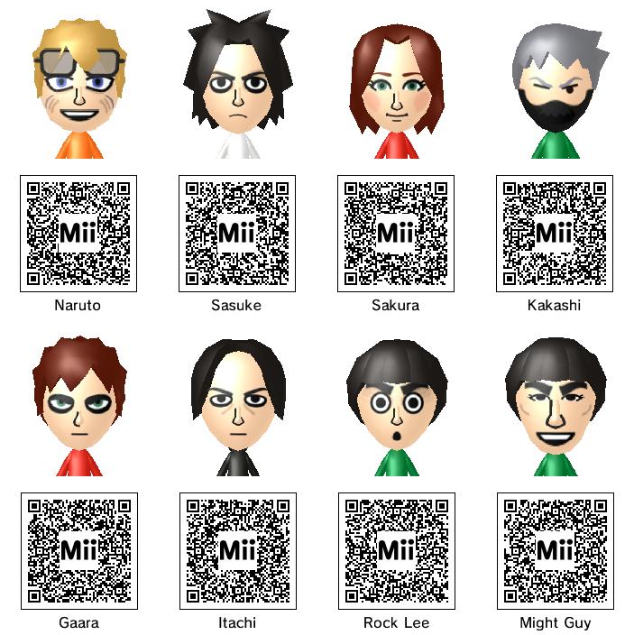 Naruto Mii QR Codes