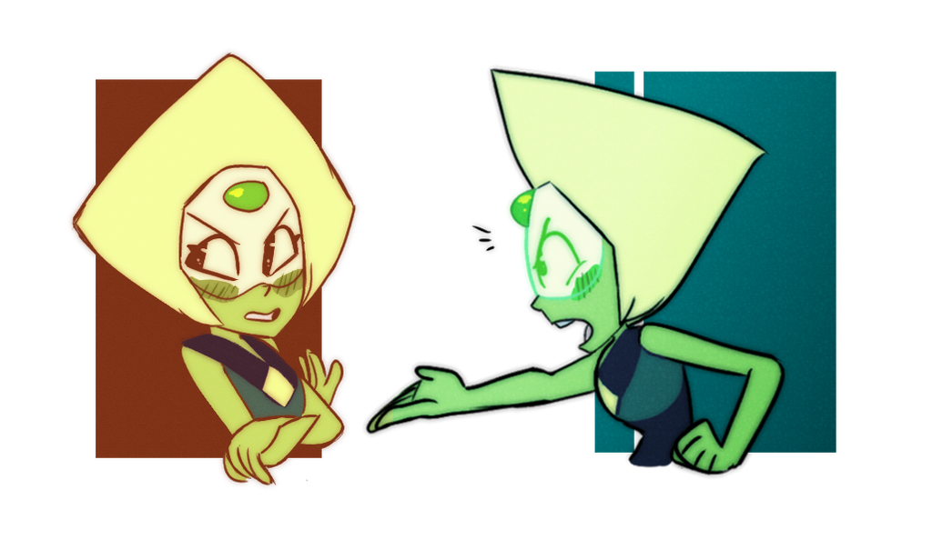 A couple doodles of little Peridot blushing! I officially started my new job this week which is why I havent been posting as often, but hopefully I'll be back to updating a bunch and drawing daily ...