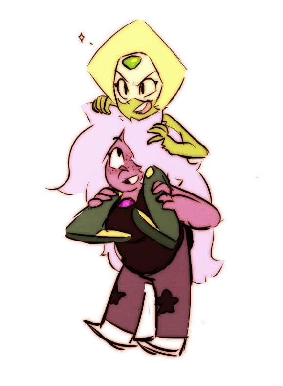 Someone on Tumblr requested I draw one of the CGs giving Peridot a piggyback ride and who could it have been but Amethyst! Just a quick doodle buuut I still like it  Tumblr