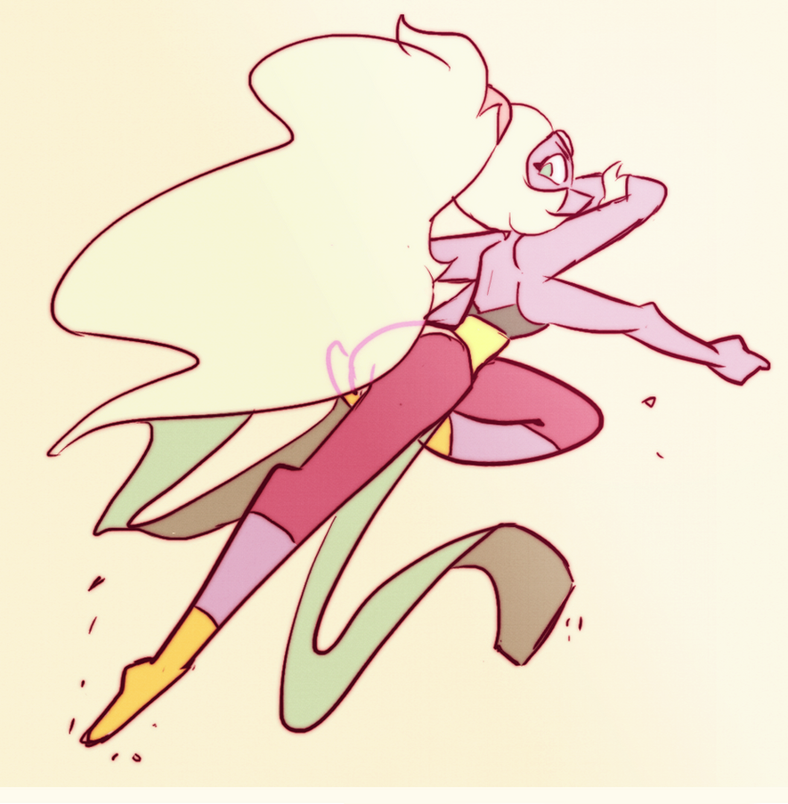It was a friend's birthday and they asked for Opal or Garnet in a cool pose!! Really regretting the way her ponytail came out though, aghhh Tumblr