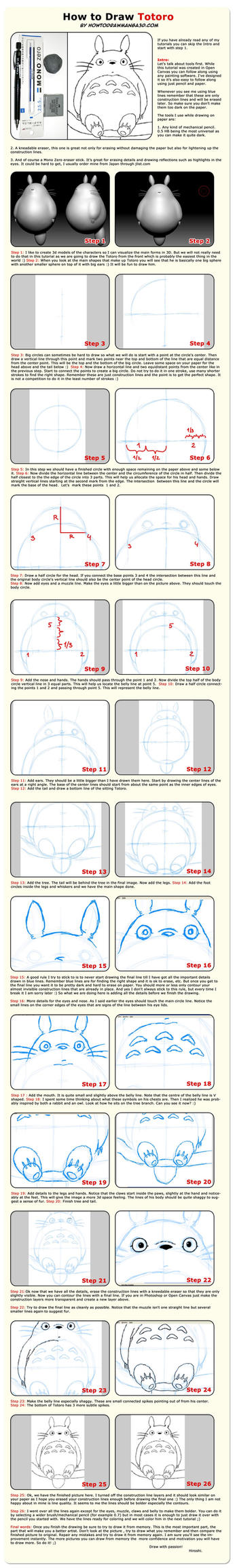 How To Draw Totoro by HowToDrawManga3D