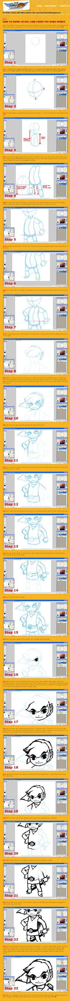 How to Draw Link from Zelda by HowToDrawManga3D