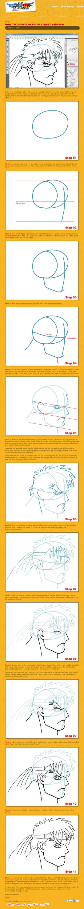 How to draw Ryu from SF 2 by HowToDrawManga3D