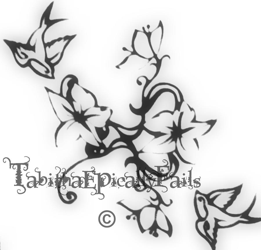Tribal Swallows And Flowers By TabithaEpicallyFails On