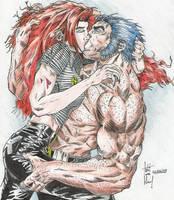 Wolverine and Jean by UndertakerDeadmanPhe