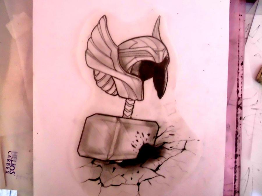 thor hammer and helmet by piiih on deviantart