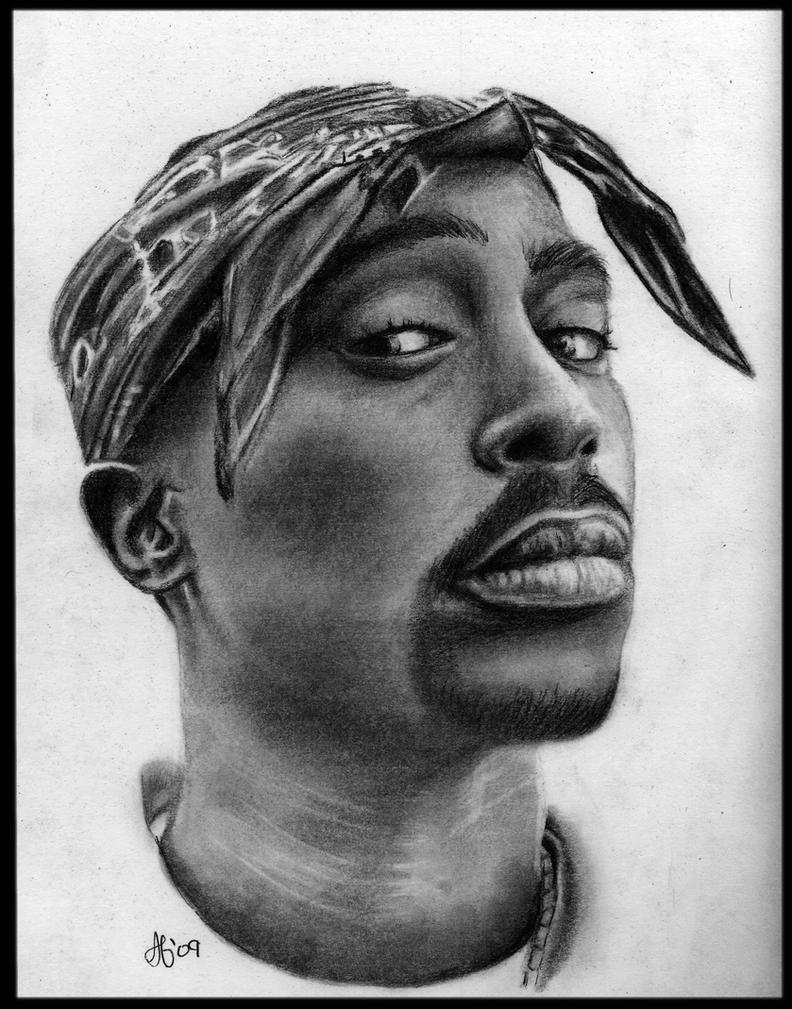 2pac Portrait Drawing by missperple
