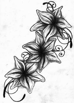 Lily Tattoo Drawing - Black and White