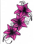 Lily Tattoo Drawing - Colour