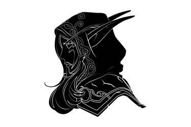 Nightelf fill black tatoo style by Betaalex
