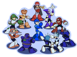 Mega Man 3 robot masters by DeadMosco