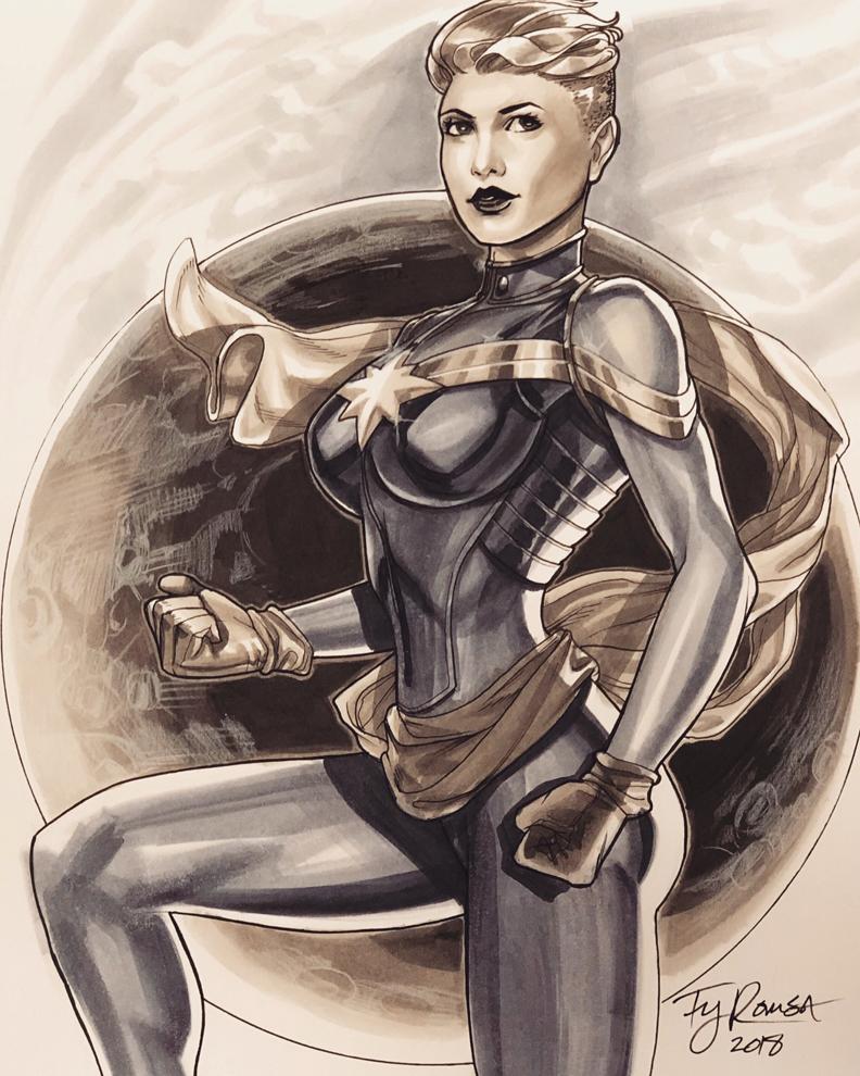 2018 CaptainMarvel Marker sketch by TyRomsa