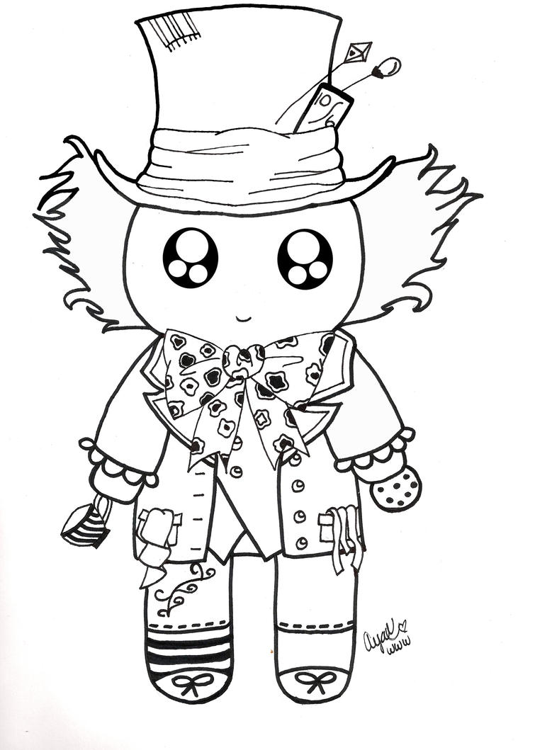 Drawing Lines In Photo Elements : Mad hatter mochiface line art by pandoraluv on deviantart