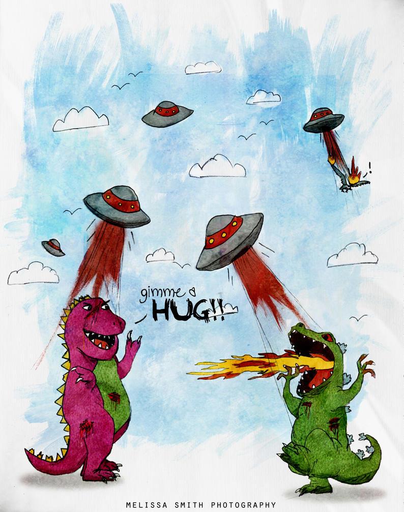 Barney vs. Reptar vs. Aliens!! by BOMBATTACK