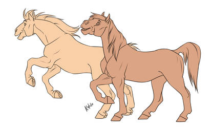 Free line (horses) by Kahito-Slydeft