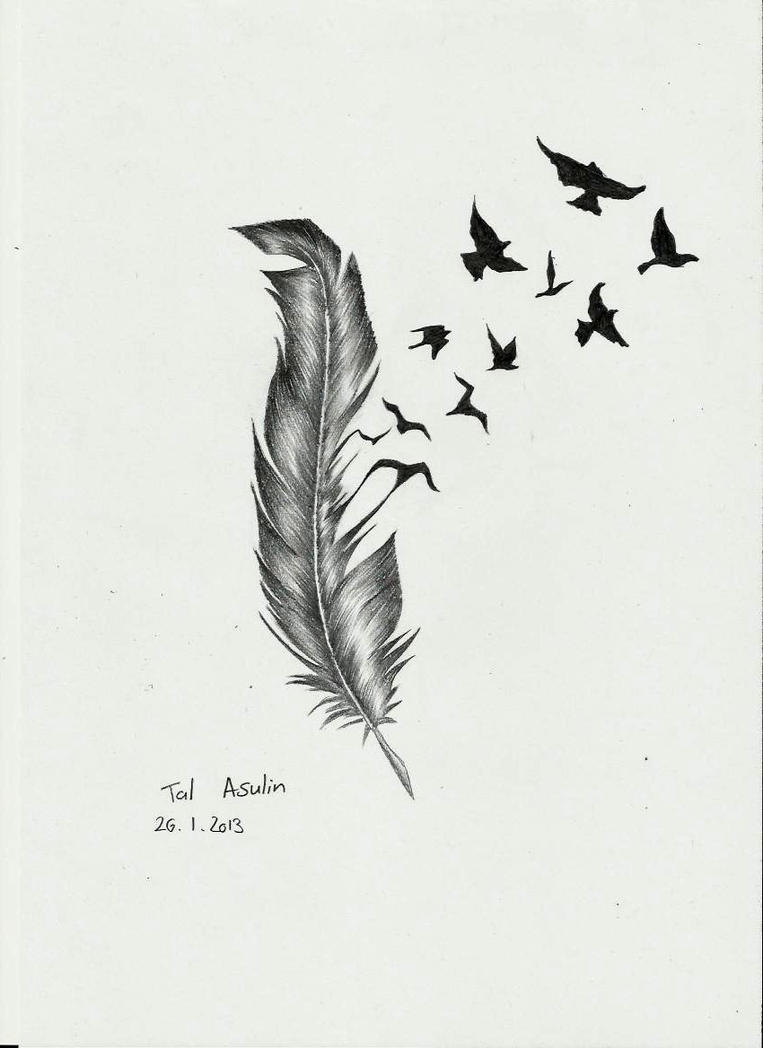 Feather by Talucifer on DeviantArt Bird Feathers Drawing