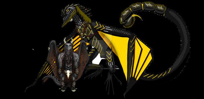 Black death wyvern and rider