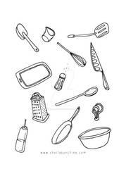 Kitchen Tools Tea Towel Design