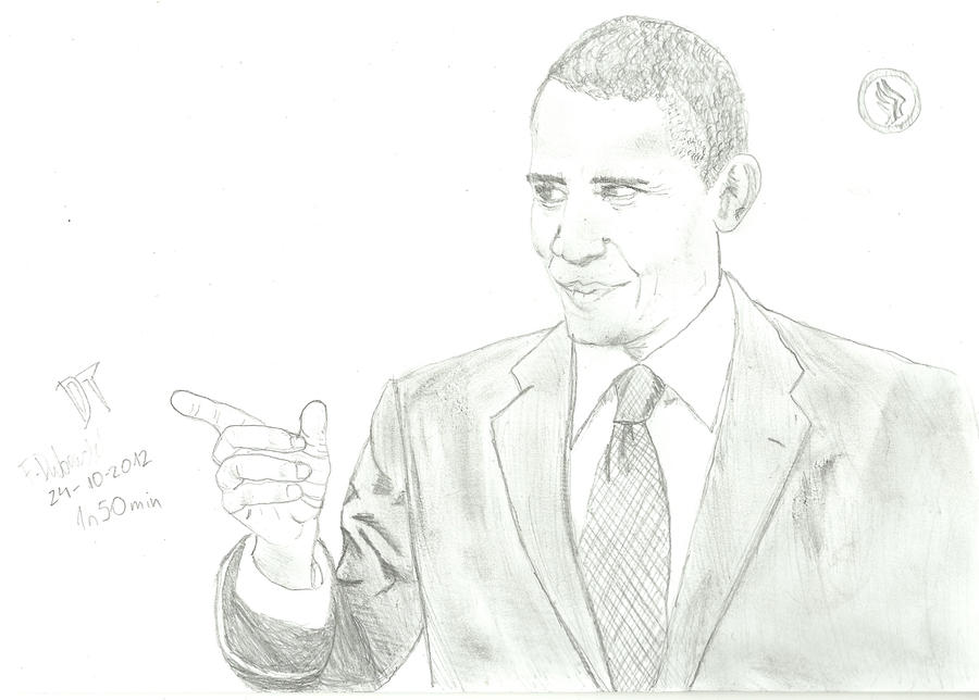Barack obama pencil sketch 2012 by madfadmaker