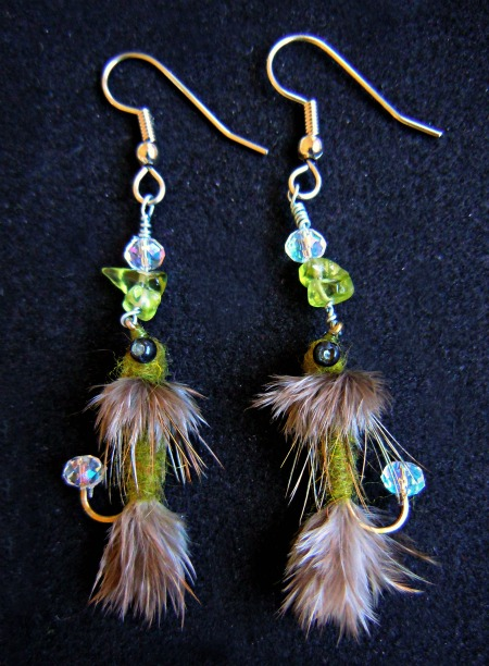 Fly Fishing Fly Earrings by KespeadooksitAgain