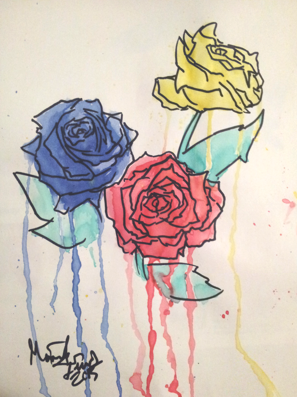 Game with watercolor -  Ib Game Roses Watercolor Painting By Toshishortpants
