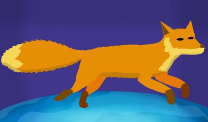 Firefox on the earth +speedpaint by KuriTails