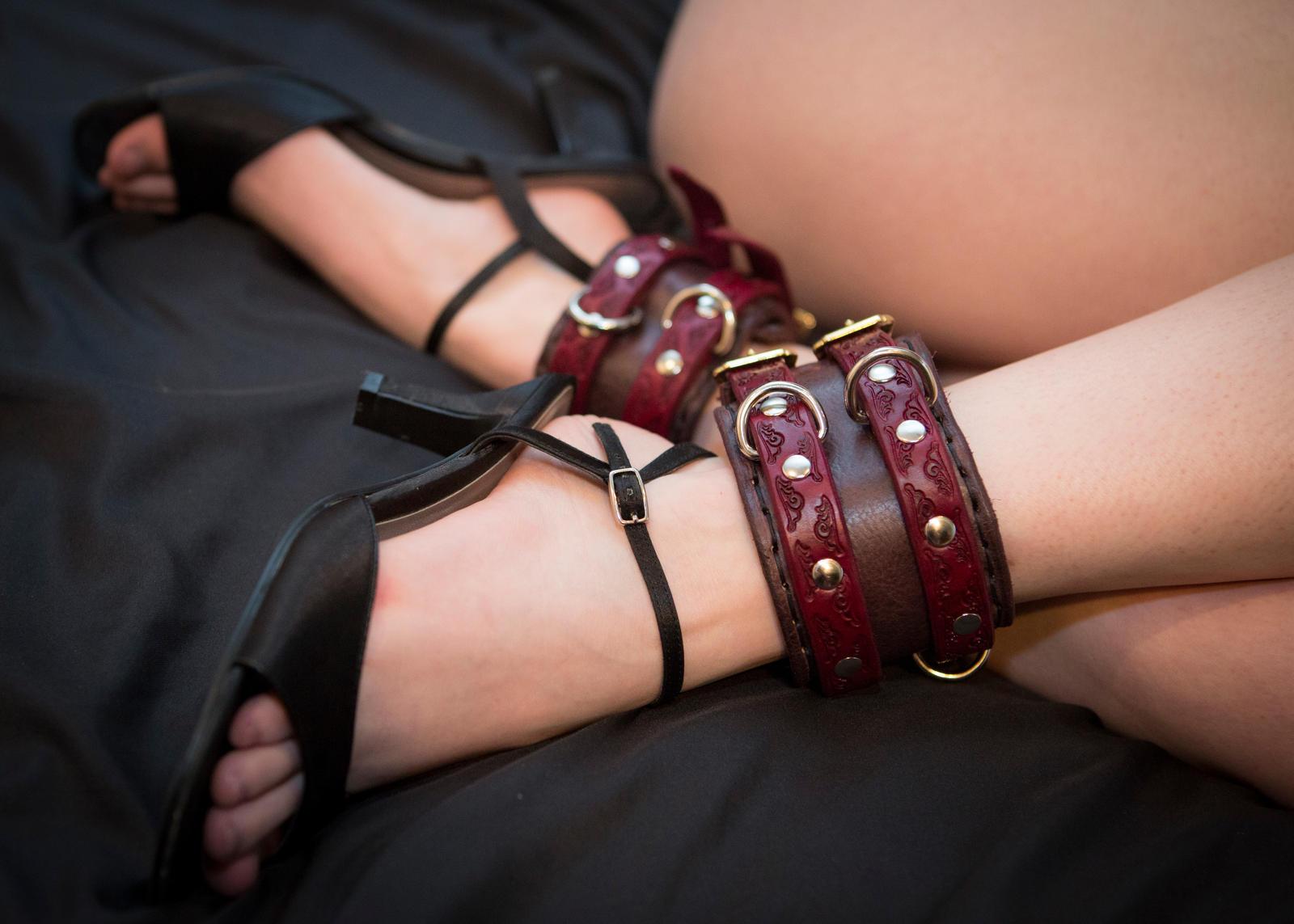 Leather bondage shackles