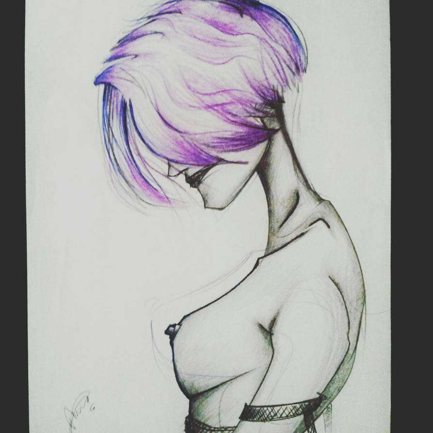 topless nude model sketch  by yelkenlin