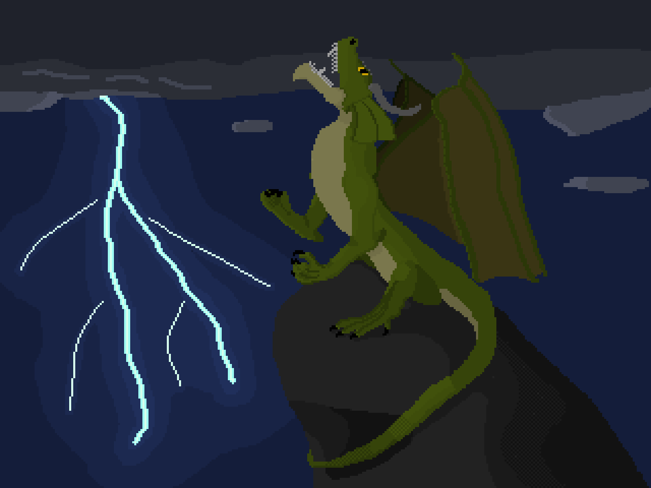 Green Dragon on a lonely high rock