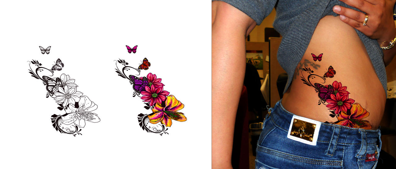 43717f2322021 Access Tattoo flower butterfly designs ~ tribal ideas
