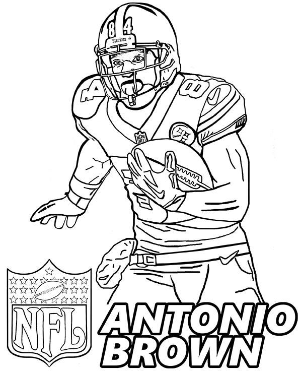 american football player coloring pages by topcoloringpages - Steelers Coloring Pages