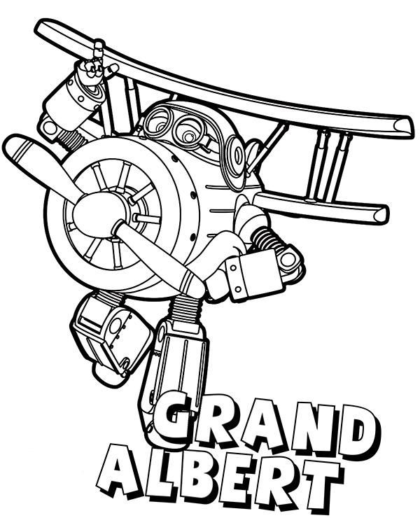 Super Wings coloring page Grand Albert by Topcoloringpages