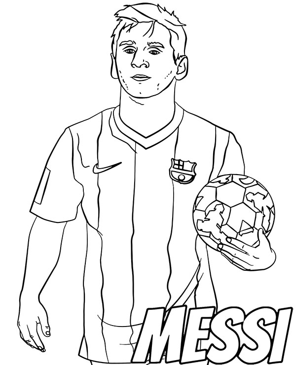 Football player Messi coloring sheet by Topcoloringpages