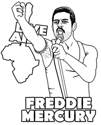 Freddie Mercury the Queen leader by Topcoloringpages
