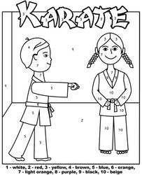 Karate color by number worksheet by Topcoloringpages